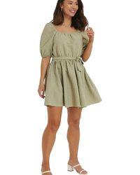 NA-KD Tie Waist Structured Mini Dress - Vert
