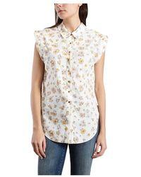 See By Chloé Floral Sleeveless Shirt - Blanc
