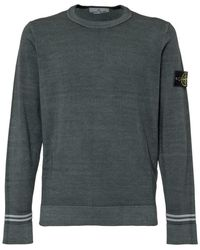 Stone Island Sweater With Logo Patch - Grijs