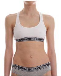 Guess W82z00 jr017 logo bralette top and body longwear women white - Blanc