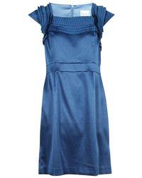 Reiss Pleated Shoulder Dress - Blau