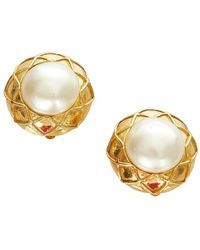 Chanel Vintage Faux Pearl Clip-on Oorbellen Metaal Messing - Wit