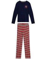 Tommy Hilfiger Pyjama + Slippers Set Des Sky - Rood