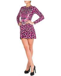 Alberta Ferretti Vestito abito donna corto miniabito manica lunga love me wild - Viola