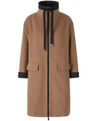 Peserico Wool Zipper Coat - Bruin