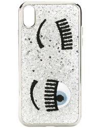Chiara Ferragni Iphone X / Xs Cover Flirting Glitter Liquid - Grijs