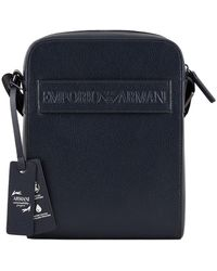 Emporio Armani Flat Shoulder Bag In Bonded Leather With Logo Band - Blauw