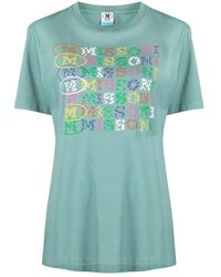 M Missoni T-shirt With Logo Print - Groen
