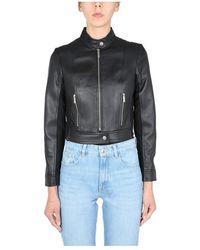 Michael Kors Leather Biker Jacket - Noir