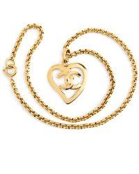 Chanel Vintage Chanel Paris Heart Logo Pendant Necklace - Geel