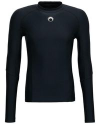 Marine Serre Training Long Sleeved T-Shirt in Recycled Stretch Fabric with Logo - Nero