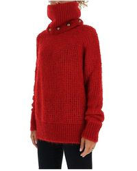 Balmain - Jersey de cuello alto con detalle de botones Rojo - Lyst