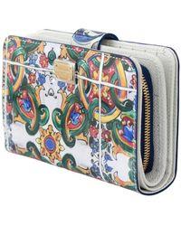 Dolce & Gabbana Majolica Tweevoudige Clutch Van Lakleer - Wit