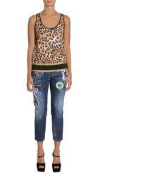 DSquared² TOP Estampado Leopardo Marrón - Multicolor