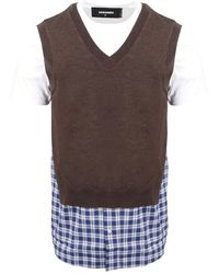 DSquared² Check Lay Knit Vest - Bruin