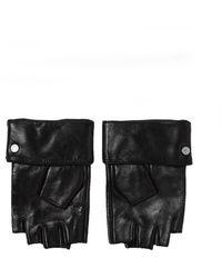 Karl Lagerfeld Leather Gloves Negro