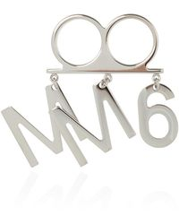 MM6 by Maison Martin Margiela Double Ring With Charm - Grijs