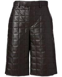 Bottega Veneta Gewatteerde Leren Short - Zwart