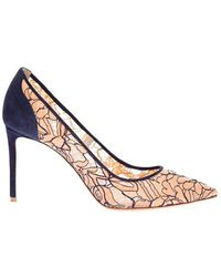 Nicholas Kirkwood Pointed-toe lace and suede pumps 85 - Rosa