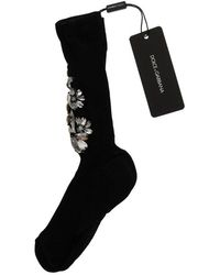 Dolce & Gabbana Chaussettes tricotées en cristal clair à fleurs - Noir