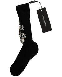 Dolce & Gabbana Gebreide Floral Clear Crystal Sokken - Zwart