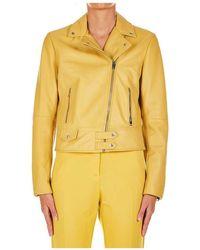 "Pinko Lam Leather Jacket ""sensibile"" - Geel"