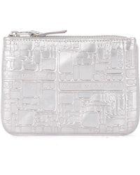Comme des Garçons Wallet silver printed leather purse - Gris