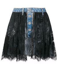 Unravel Project Vintagew. Reverse Lace Skirt - Bleu