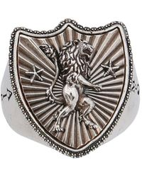 Alexander McQueen Ring With Lion Shield - Grijs