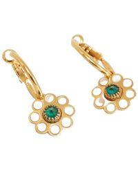 Medecine Douce Venezia Mother Of Pearls And Swarovski Crystal Hoop Earrings - Geel