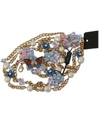 Dolce & Gabbana Chain Crystal Butterfly Flower Riem - Geel
