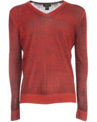Avant Toi V Neck Pullover With High Edges - Rouge