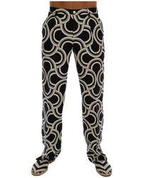 Dolce & Gabbana Pattern 100% Linen Pants - Zwart