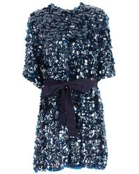 P.A.R.O.S.H. Trench Paillettes W/belt - Blauw