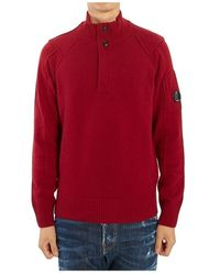 C.P. Company Lambswool Lens Half Button Sweater - Rouge