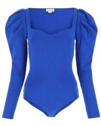 Alexander McQueen Puff-sleeve sweetheart bodysuit - Azul