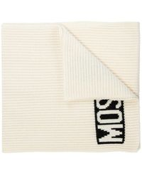 Moschino Rib-knit Scarf With Logo - Naturel