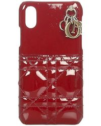Dior Coque iPhone en cuir verni Cannage - Rouge