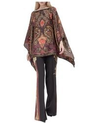 Etro Poncho with Paisley Pattern Marrón