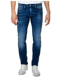 Replay Anbass Hyperflex Re-used Slim Fit Jeans - Blauw