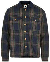 Anerkjendt Overshirt- Aklion Wool Check - Blauw