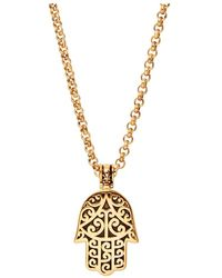 Nialaya Men's Gold Hamsa Hand Necklace - Geel