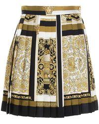 Versace Barocco Mosaic Print Pleated Skirt - Geel