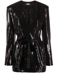 Karl Lagerfeld Sequins Jacket W / Belt - Nero