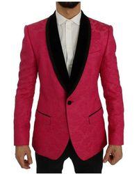 Dolce & Gabbana Floral Brocade Slim Blazer - Roze