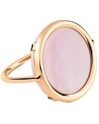 Ginette NY Mother Of Pearl Disc Ring - Roze