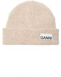 Ganni Rib-knit Hat With Logo - Naturel