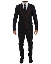 Dolce & Gabbana Gestreepte 3 Piece Slim Suit Tuxedo - Zwart