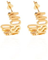 Moschino Earrings With Logo - Geel