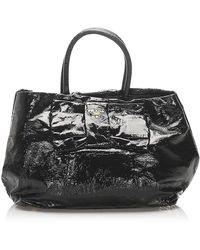 Prada Patent Leather Bow Tote Bag - Zwart